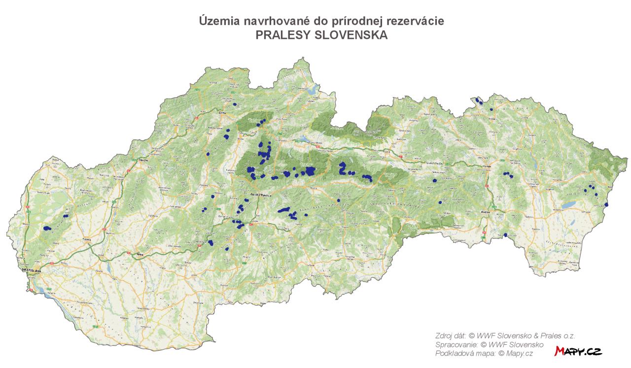 Územia navrhované do PR Pralesy Slovenska